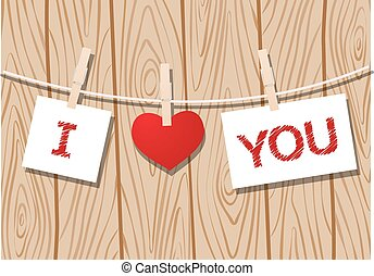 Love message - Heart and pieces of paper with love message...