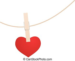 Heart and clothespin - Red heart with clothespin hanging on...