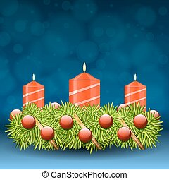 Advent wreath of twigs with red candles and various...