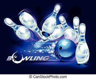 Bowling game over blue - Bowling game, blue bowling ball...