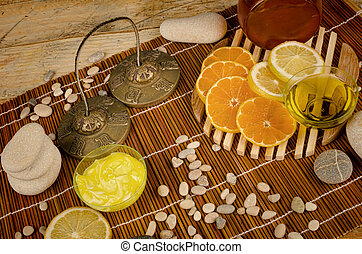 Citrus fruit based cosmetics - Still life with citrus fruit...