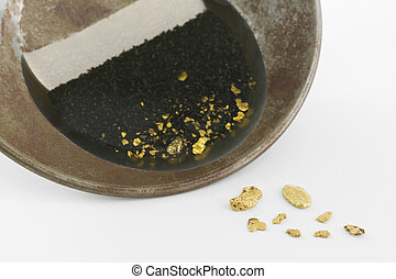 A gold pan with natural placer gold