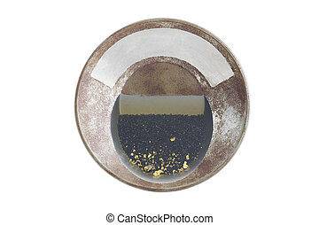 Gold pan with natural placer gold - Natural placer gold and...