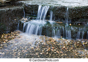 Beautiful cascading waterfall in the spring time