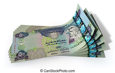Dirham Bank Notes Spread - A group of five dirham banknotes...