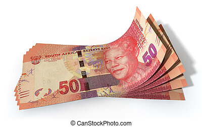 Rand Bank Notes Spread - A group of five rand banknotes...