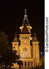 Metropolitan Orthodox Curch Timisoara Romania lighted in the...