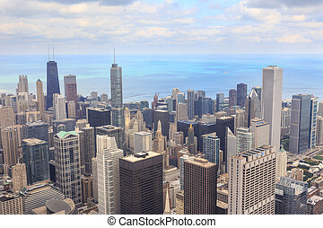 Chicago Cityscape - Aerial view of the downtown Chicago...