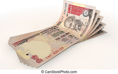 Rupee Bank Notes Spread - A group of five indian rupee...