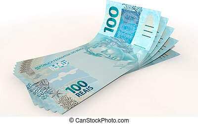 Real Bank Notes Spread - A group of five real banknotes...