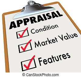 Appraisal Words Checklist Clipboard Factors Condition Market...