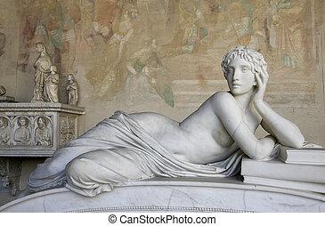 hermoso, mujer, Escultura,