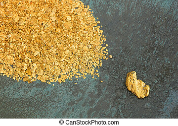 Natural Placer Gold - Natural placer gold and nuggets in an...