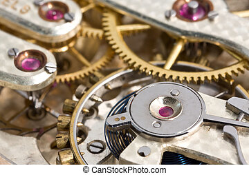 Antique Pocket Watch Mechanism - Close-up of an antique...