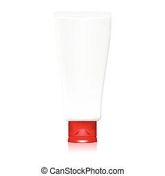 tube red cap for cream - Illustration of tube red cap for...