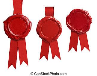 rojo, cera, sello, signets, Colección, con, cinta, o,...