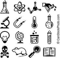 Chemistry and science black icon set