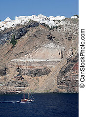 A scenic cliffside view of Santorin - A scenic Cliffside...