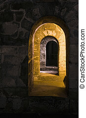 Old Spanish Dungeon - The interior of a dungeon in an old...