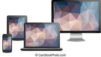 Set of realistic display, laptop, tablet computer and mobile phone template with polygon backgrounds. Vector.
