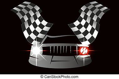 checkered flag racing - checkered flag and car racing Stock...