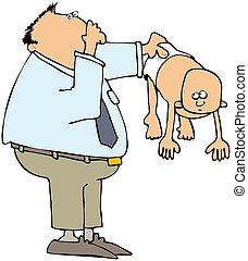 Stinky Diapers - This illustration depicts a man holding up...