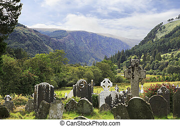 Medieval Celtic cemetery in Wicklow Mountains National Park.