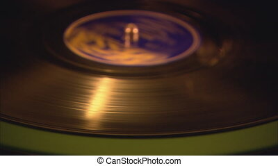 Gramophone Record and Needle CU - Close up of gramophone...