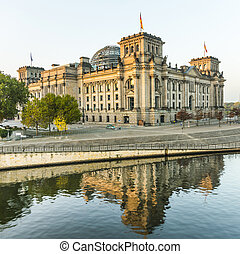 reichstag (bundestag) with reflection in spree river in...
