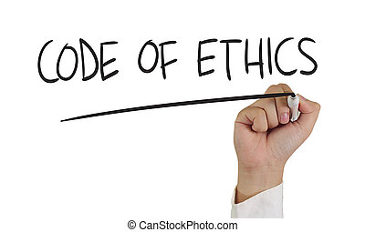 Code of Ethics - Motivational concept image of a hand...