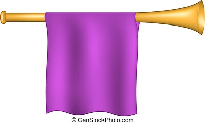 Trumpet with purple flag on white background