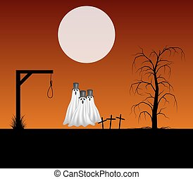Three ghosts in cemetery