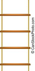 Wooden rope ladder in brown design on white background