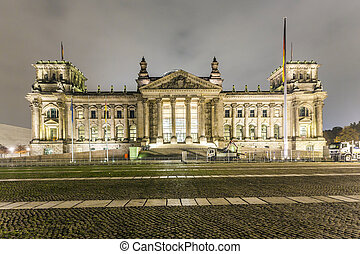 reichstag or bundestag building in Berlin, Germany, at night...