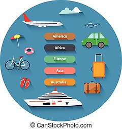 Flat design, Icons set of traveling - Vector illustration of...