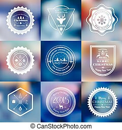 Christmas badges set on blurred bac - Vector set of 9...