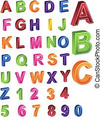 Alphabet Numbers - set of 3d letters and numbers.