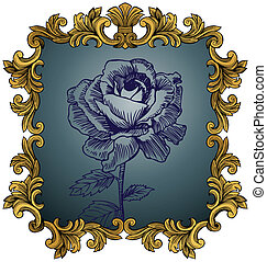 Antique Rose - Hand drawn flower in a detailed gold frame.