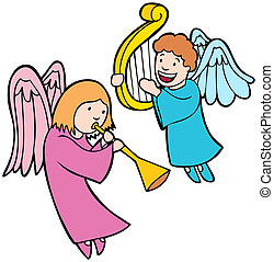 Angel Set Icons - angel cartoon characters playing music.