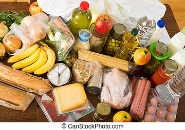food purchases from supermarket  on table in home