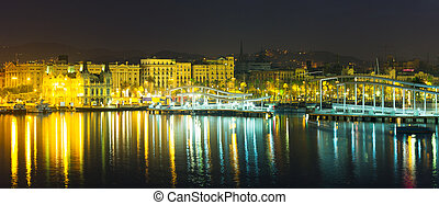 Port Vell at Barcelona in night