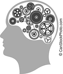 Concept of thinking, mind works, the creation of ideas, head...