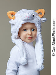 Baby with sheep hat New Year 2015 - Cute adorable pretty...