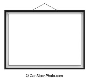 Blank horizontal painting in black frame hanging on the...
