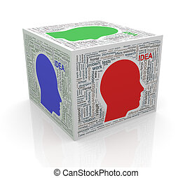 3d cube word tags wordcloud of human head idea