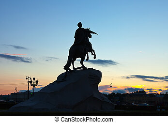 Equestrian statue of Peter the Great in sunrise Saint...