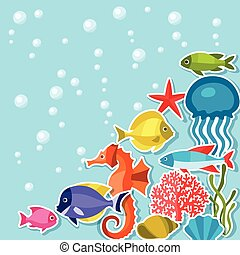 Marine life sticker background with sea animals.