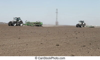 tractor and seeder machine - SMELA, CHERKASSKAYA/UKRAINE -...