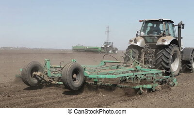 tractor and seeder machine