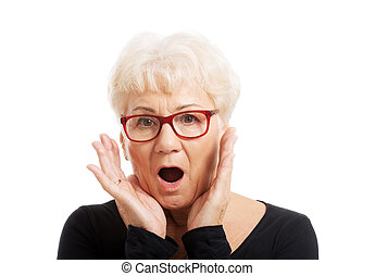 Senior woman surprised - Active fit senior woman surprised